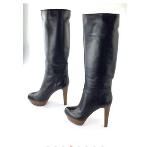 NWT Sergio Rossi Black Leather High Heel Boots